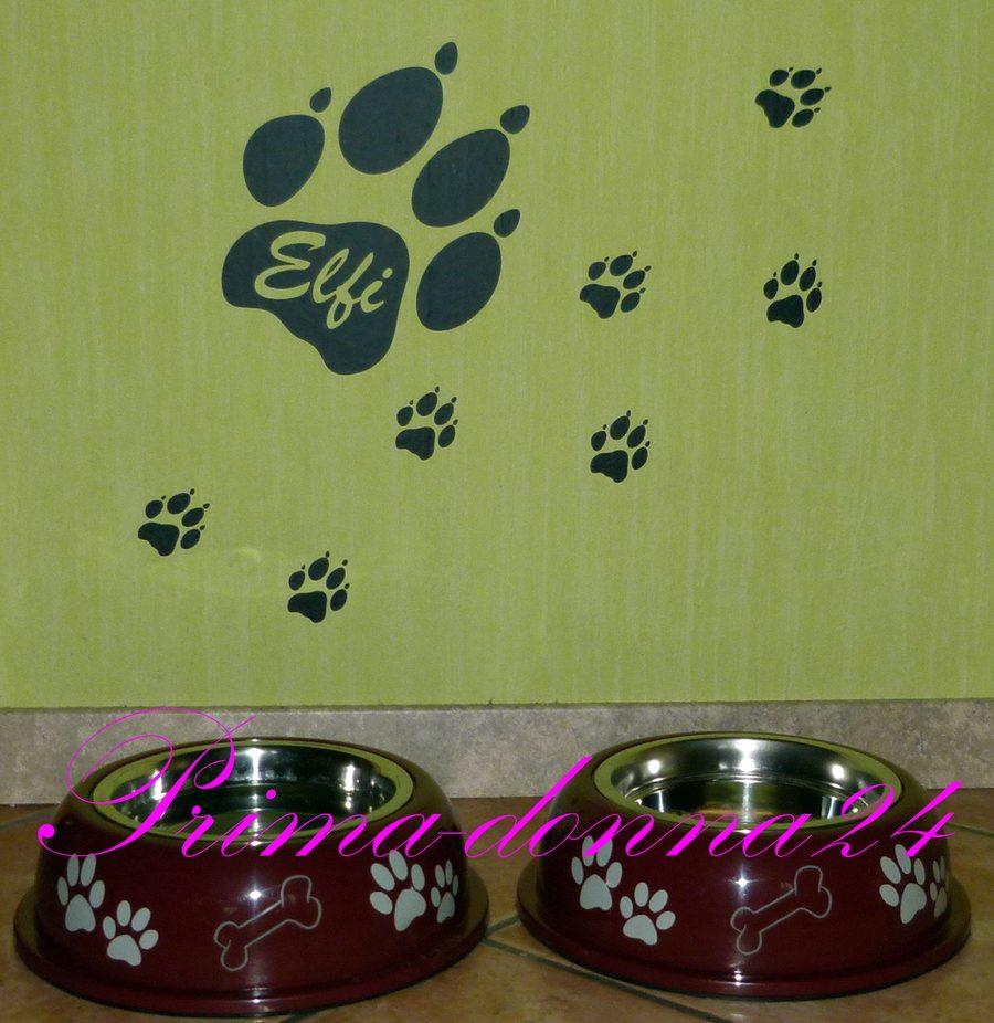 Wandtattoo Pfoten Hundepfote Hund Mit Name Ebay