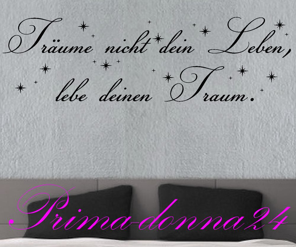 wandtattoo spr che zitate tr ume nicht dein leben 118cm x 50cm ebay. Black Bedroom Furniture Sets. Home Design Ideas