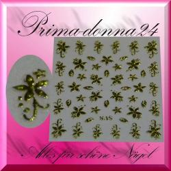 Nail Tattoos 018 Tattoo Sticker Floral Gold