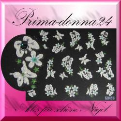 Nail Tattoos 017 Tattoo Sticker mit Blüten u Strass