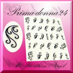 Nail Tattoos 044 Tattoo Sticker Floral Schwarz