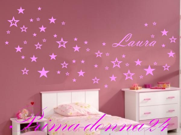 Wandtattoo sterne mit name kinderzimmer prima donna24 for Kinderzimmer sterne